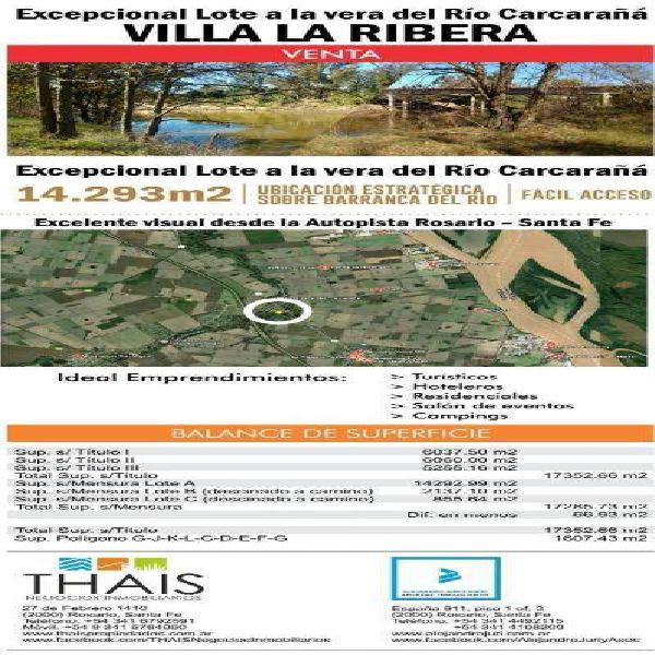 Gran Terreno en Venta Villa La Ribera