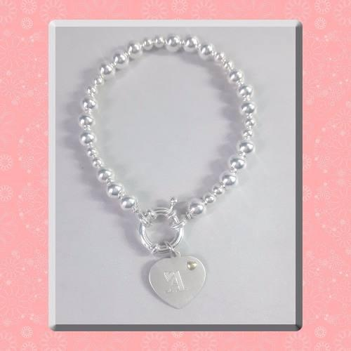 Pulsera Bolitas De Plata 925 Y Medalla Corazón Grabado Inc