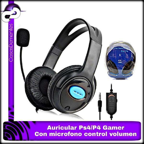 AURICULARES PS4 P4 GAMER CON MICRÓFONO CONTROL VOLUMEN