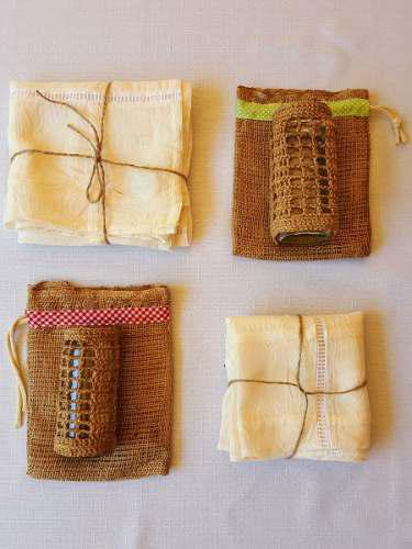 Mantel Voile/ Frascos Vidrio Crochet- Yute