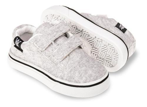 Zapatillas Con Abrojo Para Bebes Gris, Talles Del 17 Al 26