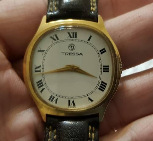 Antiguo Reloj Tressa Oro Plaque 18 K Quartz Suiza