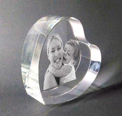 Corazon De Cristal Con Foto 2d Grabado Láser