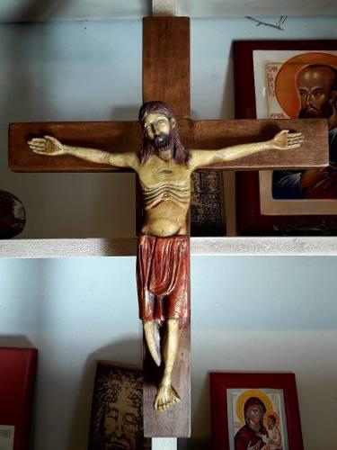 Crucifijo - Cruz De Madera Y Cristo De Piedra Reconstituida