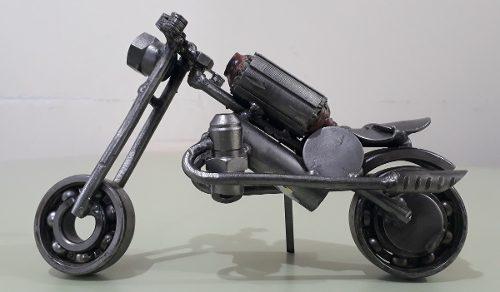 Escultura De Moto Artesanía En Metal Hierro Rulemanes