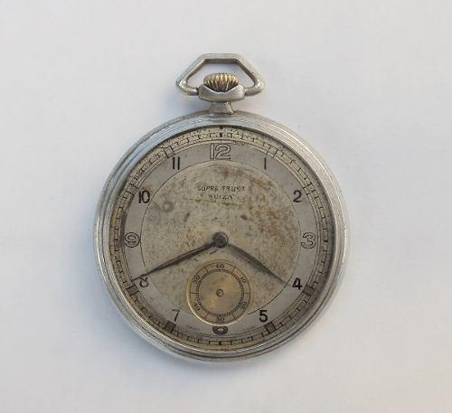 Reloj Bolsillo Antiguo Supra Trust Suiza A Reparar 15 Jewels