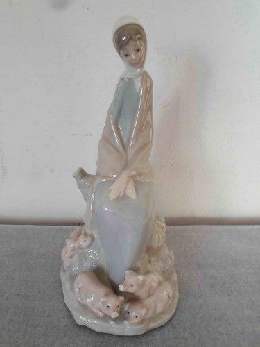 Antigua Figura Porcelana Española Nao By Lladro Pastorcita