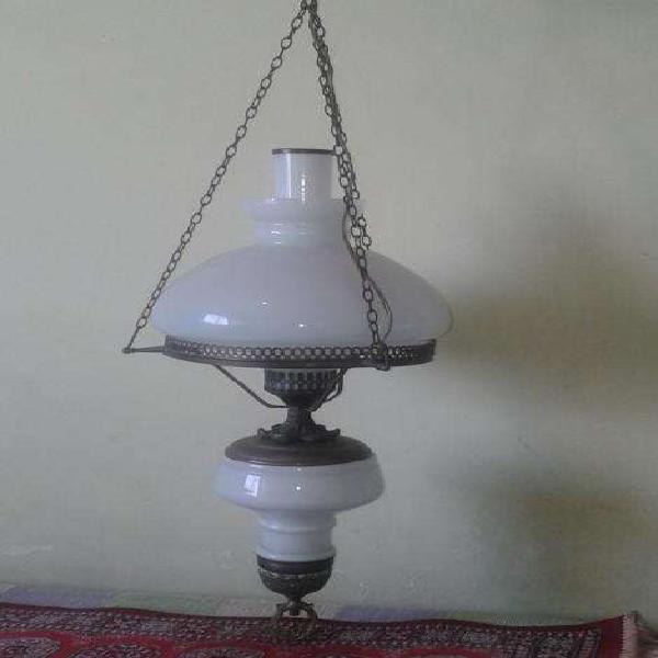 Antigua lámpara colgante Quinqué de bronce con doble