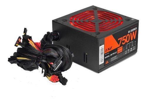Fuente Pc Gamer Lnz 750w Cooler 12cm 24 Pin Cpu 4+4 Pci 6+2
