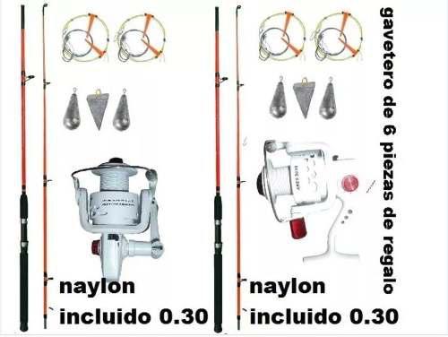 2 Combos De Pesca Con Cañas 2.10 Y 2.40 Mts Combo Familiar