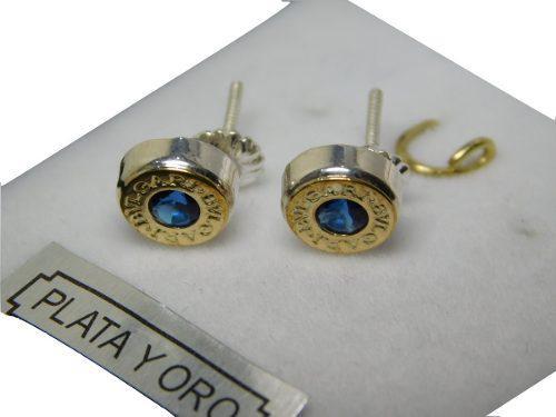 Aros Mini Plata Y Oro Con Piedra Cúbic A Rosca Bulgary 6mm