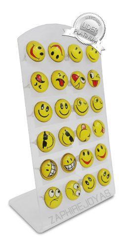 Blister 12 Pares Aros Emojis Emoticones Acero Quirurgico Por