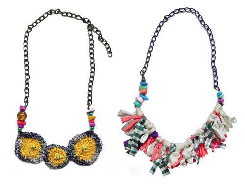 Collar Original Con Crochet Y Tela Dos Modelos Hecho A Mano