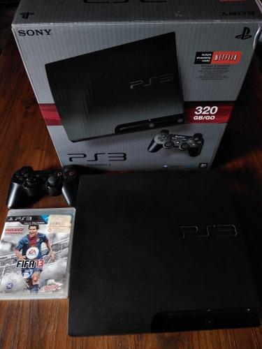 Playstation 3 Slim 320 Gb En Caja + Joystick + 18 Juegos