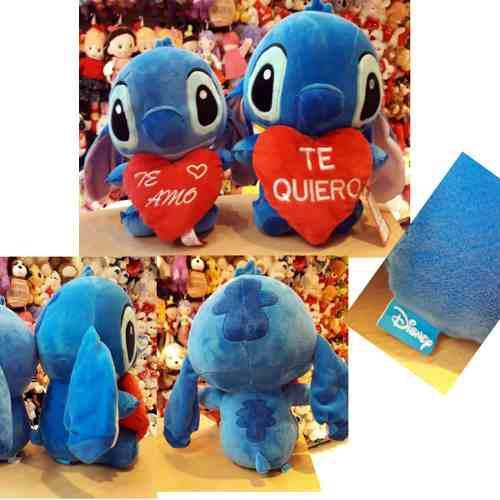 Peluche Stitch 30 Cm Real Sentado Corazón Te Amo O Te