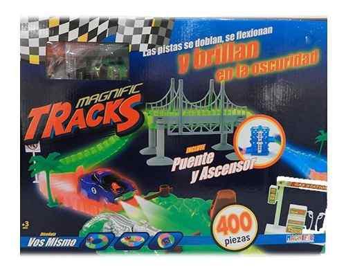 Pista Magnific Tracks Grande 400 Pzas Autos Luminoso 90400