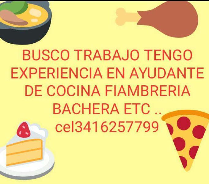Busco Trabajar de Ayudante de Cocina