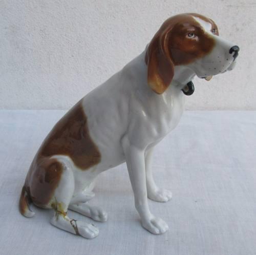 Antigua Figura De Porcelana, Perro Pointer, Sellada