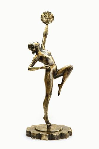Figura Femenina En Bronce Macizo, Art Deco