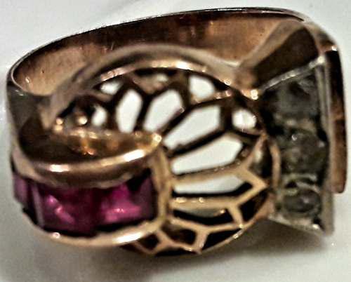 Antiguo Anillo Oro Diamante Rubí Art Nouveau