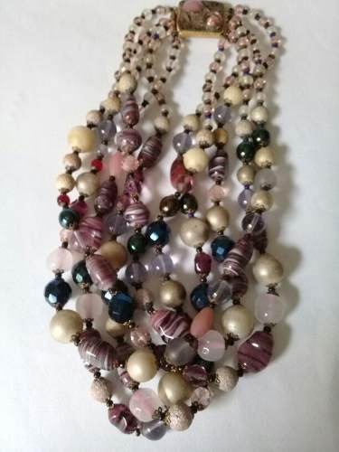 Antiguo Collar De Cristal De Murano. Cinco Vueltas