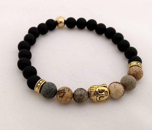 Pulsera De Hombre Jaspe Madera + Dije Buda Oro Antiguo