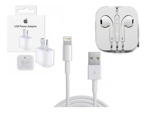 Kit 3 En 1 Pared + Usb iPhone 5 Y 6 Original + Auricular