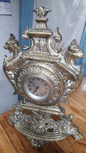 Antiguo Reloj De Mesa En Bronce, Aleman
