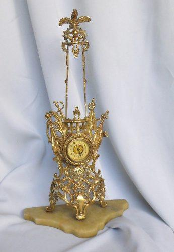 Reloj Antiguo De Mesa En Bronce No Funciona A0