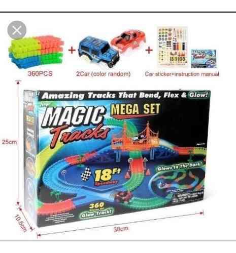 Pista Flexible Con Auto Luminoso 360 Piezas Magic Brilla