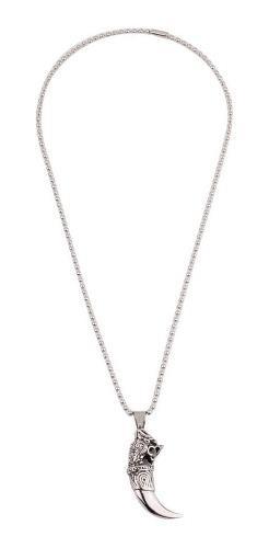 Collar Cadena De Hombre Stone Con Dije Colmillo 24 Acero 316