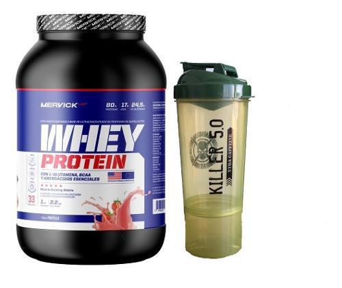 Whey Protein Mervick 1kg + Vaso 2 En 1 Shaker Generation