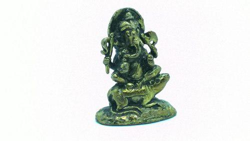 Ganesh Sobre Rata - Estatuilla En Bronce - Imporado De India