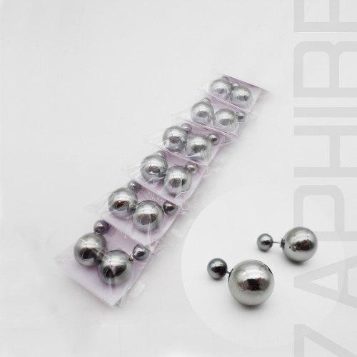 6 Par Aros Doble Perla Acero Quirurgico Metalizado Xmayor