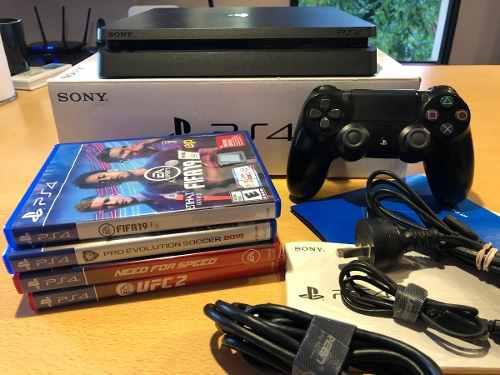 Playstation 4 Slim 500 Gb Ps4 + 4 Juegos Oportunidad