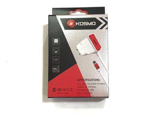Cargador Kosmo Carga Rapida 2 Amp Con Cable Micro Usb