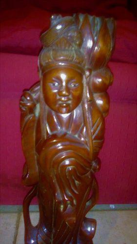 Antigua Figura Oriental En Madera De Guindo.