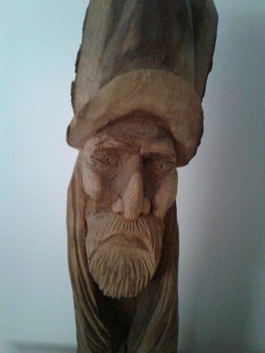 Escultura Cabeza De Gaucho Talla En Madera Benavidez