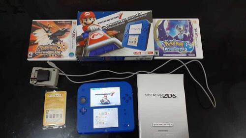 Nintendo 2ds Mario Kart 7 Blue Edition + 2 Juegos