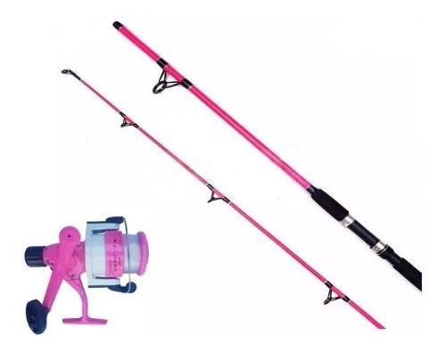Caña De Pescar Mujer Variada + Reel Rosa + Tanza