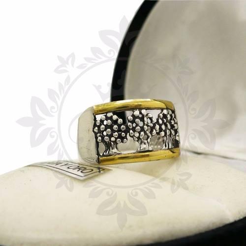 Anillo Mujer Plata 925 Y Oro Árboles, Árbol De La Vida-