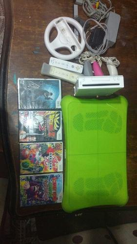 Nintendo Wii Usada Con 4 Juegos