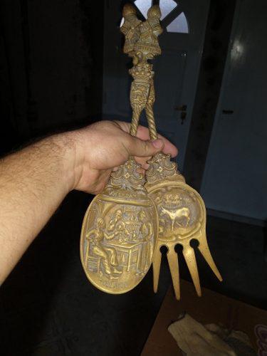 Adorno Antigüo De Bronce Cuchara Y Tenedor De Holanda