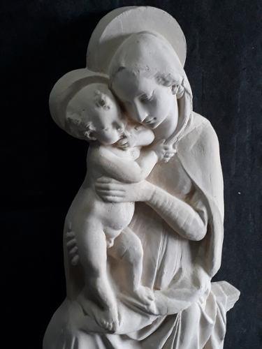 Imagen Virgen Con Niño Alt 125 Cms De Cemento P/colgar