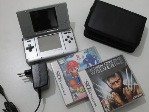 Nintendo Ds Gris + 2 Juegos + Estuche