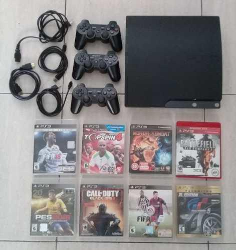 Playstation 3 120 Gb. Original. En Caja. 8 Juegos. 3 Control