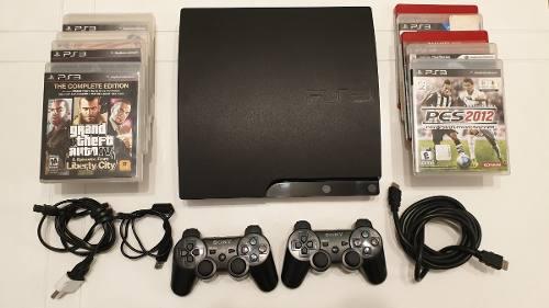Playstation 3 Ps3 Slim + 2 Joysticks 10 Juegos Cables Cuotas