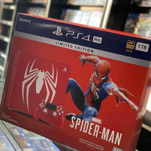 Sony Playstation Ps4 Pro 1tb Spider-rojo Edicion Limitada