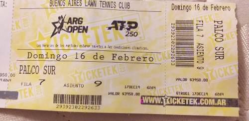 Reventa De Entrada Open 20 Lawn Tennis.domingo 16 De Feb