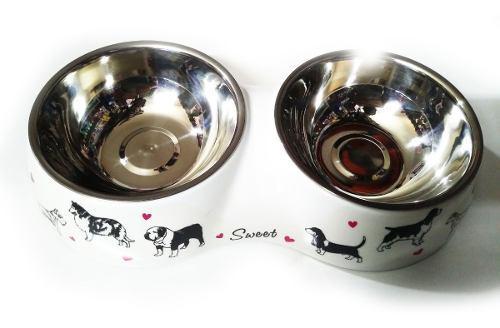 Comedero Doble Melamina Con Platos Extraíbles Perros Gatos